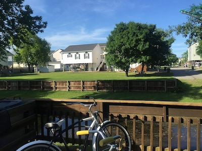 Back deck.  Bike not included. Bring fishing poles.