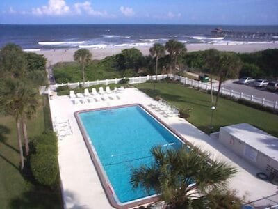 Cocoa Beach Towers giant pool on beach side of the building