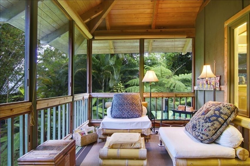 Wooden deck amidst a tropical setting in Hana