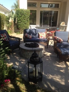 cozy patio and firepit