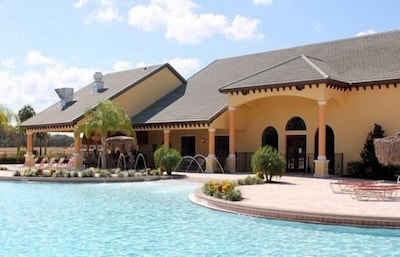 Back side of club house resort pool.