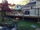 Huge back deck overlooking the stream