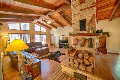 Firewood provided as well as fireplace accessories to keep fire maintained.
