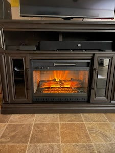 Electric fireplace for those cool nights.