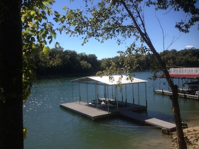 Concrete steps to covered dock. You are very close to a marina to gas up.