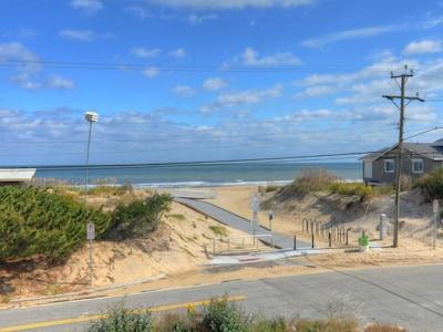 Front deck view. Beach access.
