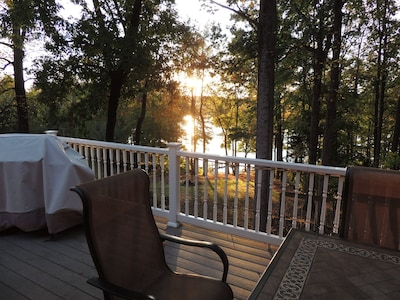 Sunset view of the lake from the porch