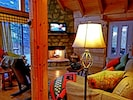 Living room with views! Wood burning fireplace