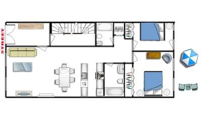 Cozy Romantic Elegant Garden Floor Apartment. 2 Bedrooms, 2 bathrooms. Patio.