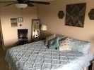 Master bedroom with King size purple mattress. Very comfortable.