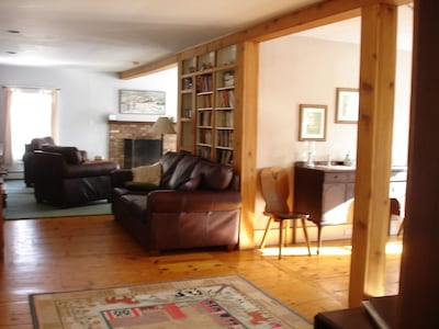 From the kitchen looking towards the living room. Dining room on the right