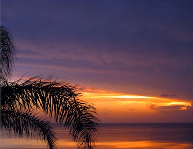 Sunset view of the beautiful Laguna Madre bay from house.