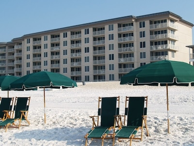 Beachfront condo  --  N/C for 2 chairs and umbrella from March thru Oct