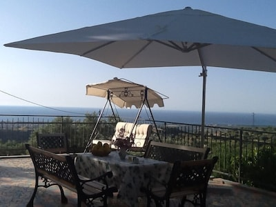 Terrace overlooking the countryside and the sea