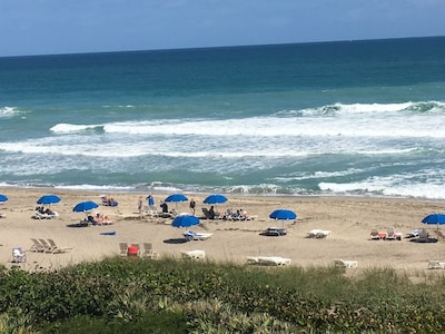 Actual view from our balcony 2018. Top floor gets surf, beach and ocean!