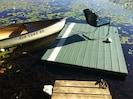 canoe and dock on lake