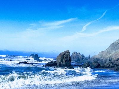 The waves crashing on Irish Beach...1 min. drive away