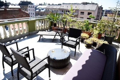 private terrace overlooking Zagreb rooftops