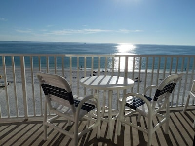 Spectacular view of beach and Gulf from the balcony - all that's missing is you!