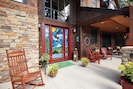 The stained glass front entry sets the tone for this spectacular vacation home.
