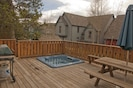 Private deck with jacuzzi-hot tub, gas grill and picnic table