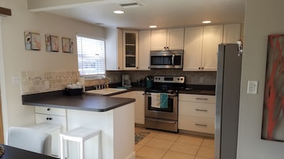 Kitchen with all stainless appliances.