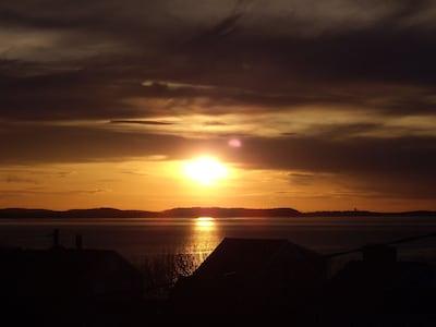 Sunset view of Ipswich Bay