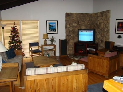 42in Flat Screen TV and Electric Fireplace.