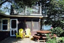SANDY COVE COTTAGE on the ocean, picnic table, lobster cooker, BBQ,  upper deck.