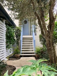 Blue door beach house entry