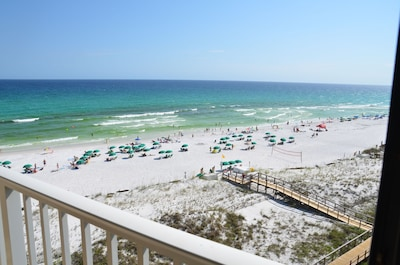 View of the beach from your private balcony