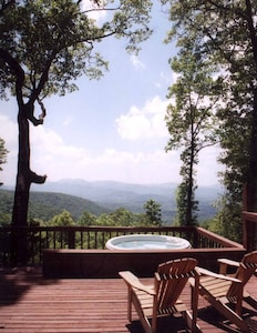 Enjoy the view from the hot tub, or from the 1000 square foot deck