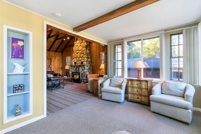 The living room is a comfortable place to relax at the front of the house.