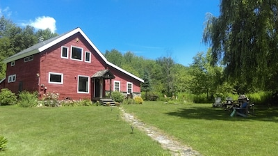A real converted barn in VT!  2 acres of lawn and 4.5 of woods with trails.