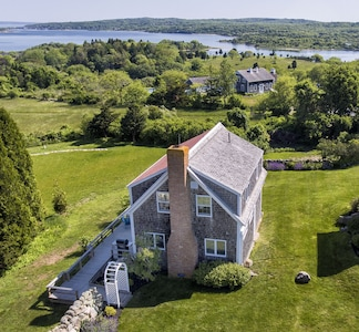 Overlooking a panorama of ponds and sea, with views all the way to Cape Cod....
