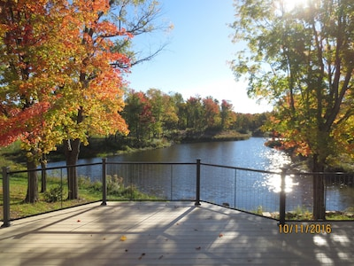 Autumn view of pond from Sitting Room