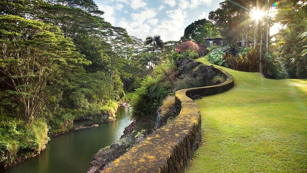 Hawaii Airbnb overlooking a waterfall near Hilo
