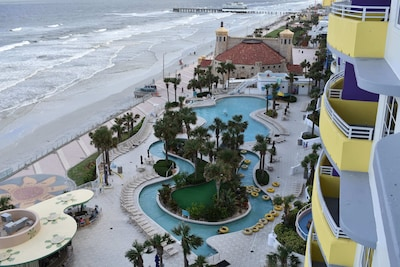 AERIAL VIEW OF THE POOLS AND OCEAN