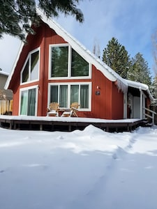 Snow at the Red Chalet.
