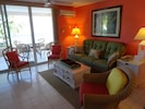 The tropical colors of the condo immerse you in the Caribbean vibe!