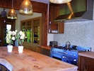 Kitchen island area with view of gas range (high end Bertazonni stove)