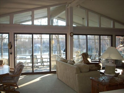 Greatroom and screen porch. Main level.