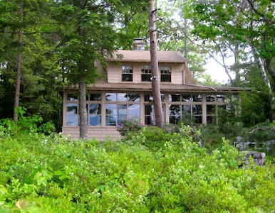 Front of camp, facing the lake, surrounded by blueberry bushes.