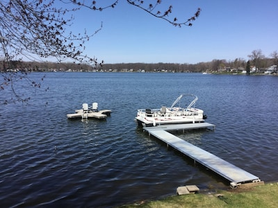 dock and pontoon boat and raft
