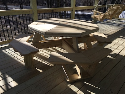 Covered picnic table.  Enjoy dining outdoors rain or shine!