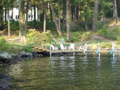 From the lake, the private dock and The Tuttle House in the background