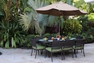 Outdoor dining with seating for eight.