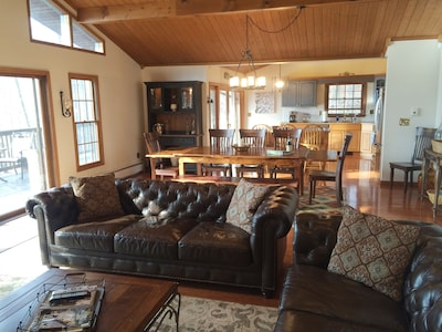 upper level features a large, open floor plan where everyone can relax & enjoy