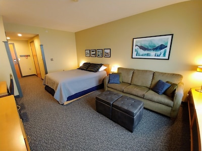 Bed and Living Area