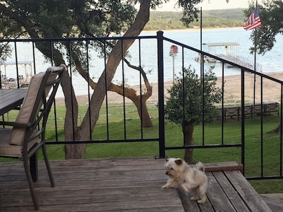 Deck overlooking the dock and water.  Pet friendly.